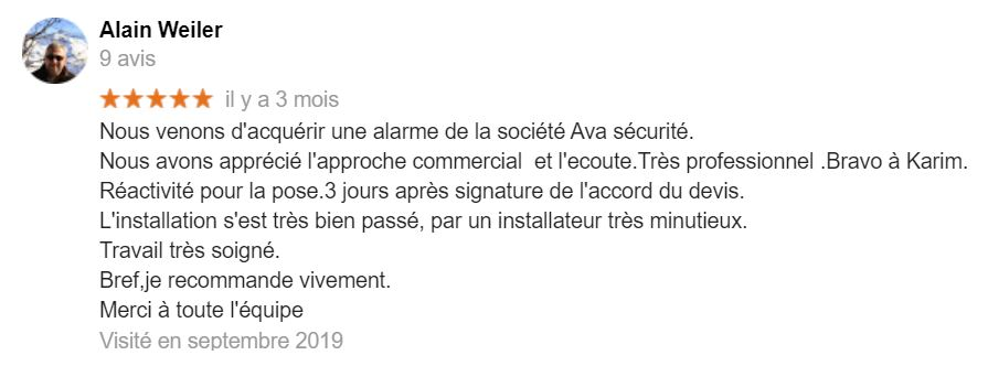 AVIS GOOGLE AVA SECURITE